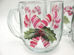 hand painted mug candy cane