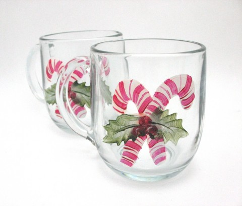 hand painted mug holiday candy cane