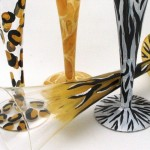 animal print hand painted glassware