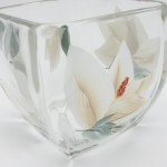 magnolia hand painted glassware