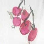 Cherries painted glass