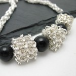 jap cubes necklace chainmaille silver