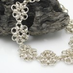 daisy flower chainmaille jewelry bracelet