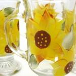 hand painted sunflower glassware