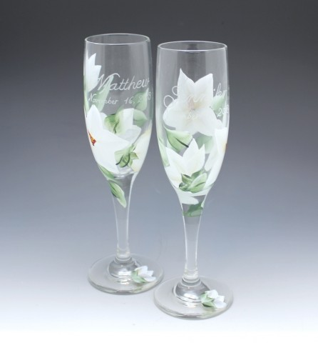 hand painted toasting glass wedding
