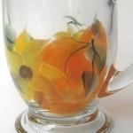 fall pumpkin sunflower hand painted glass