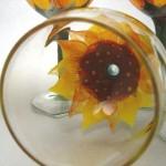 sunflower wine glass hand painted