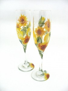 hand painted sunflower toasting glass wedding