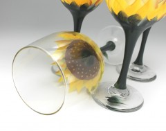 yellow sunflower wine glass hand painted