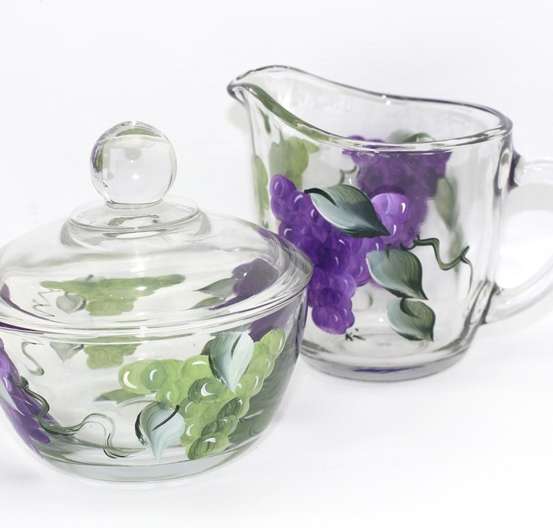 Grapes hand painted glass cream sugar set