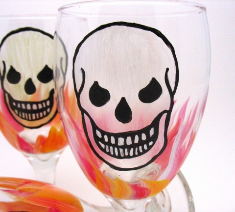 hand painted water glass skull flames