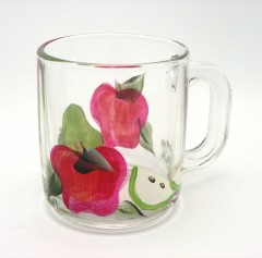 hand painted apple mug set