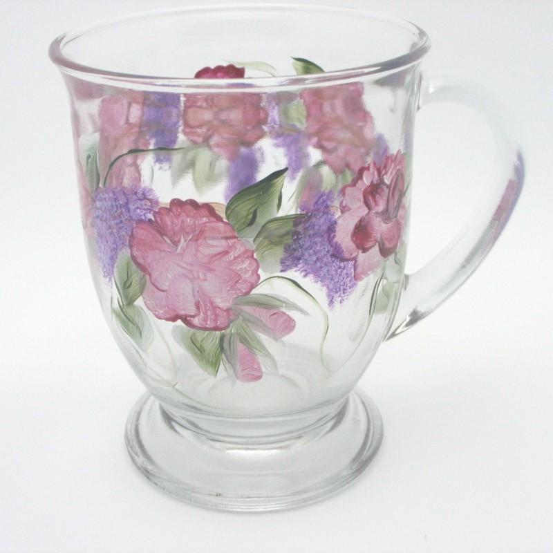 cafe mug hand painted rose