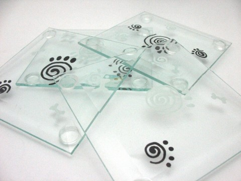 paw print glass coaster set