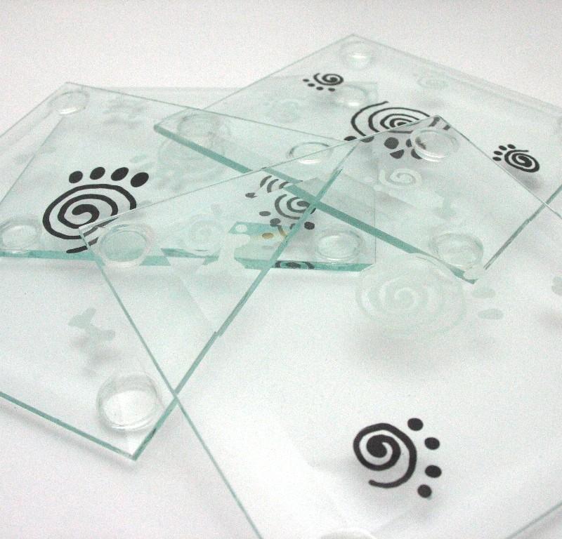 paw print glass coaster set