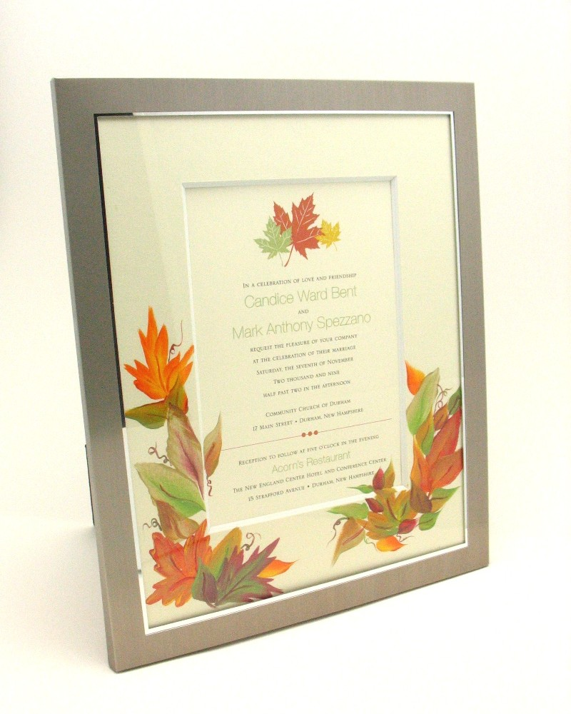 hand painted autumn leaves wedding invitation
