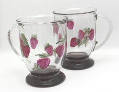 Cafe mug hand painted red base strawberry pair
