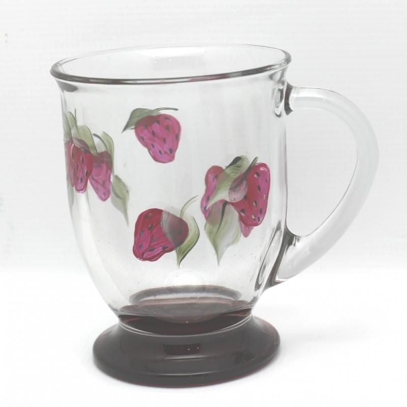 Cafe mug hand painted red base strawberry single