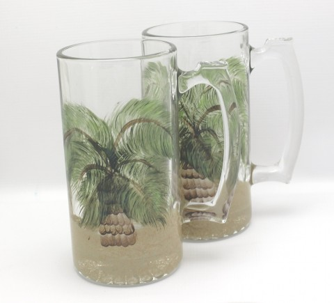 Mug Tropical hand painted glass