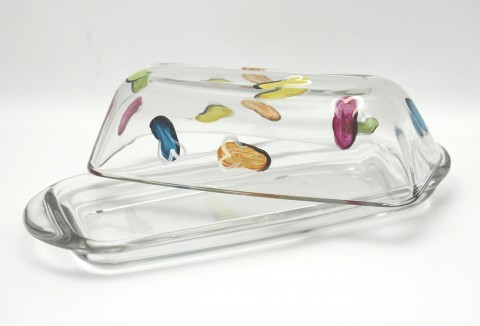 Flip flop hand painted glass butter dish