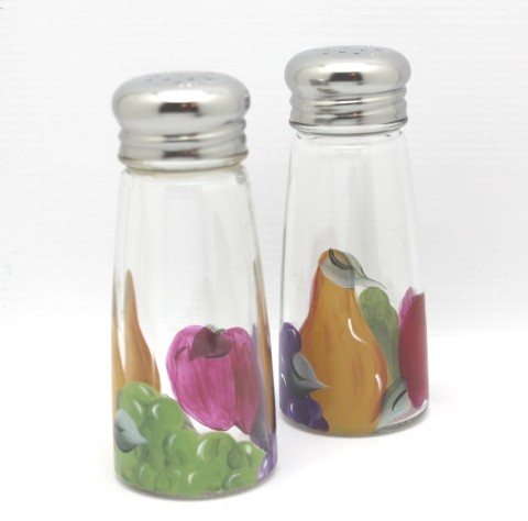 hand painted tuscan fruit salt and pepper shaker