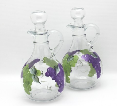 hand painted grape cruet set