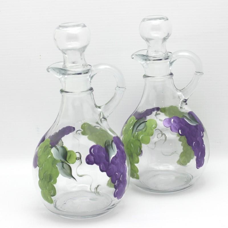 hand painted grape cruet set