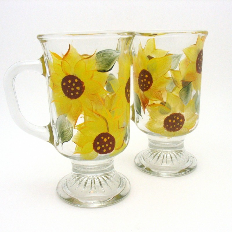 Irish sunflower coffee mug hand painted
