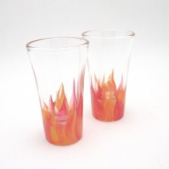 hand painted flame shot glass