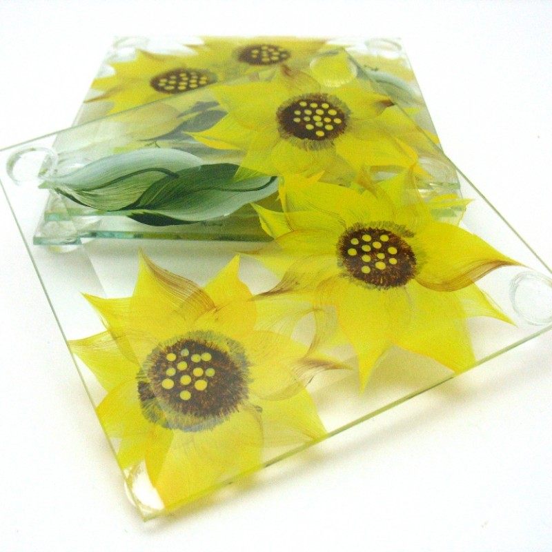 glass hand painted coaster sunflower