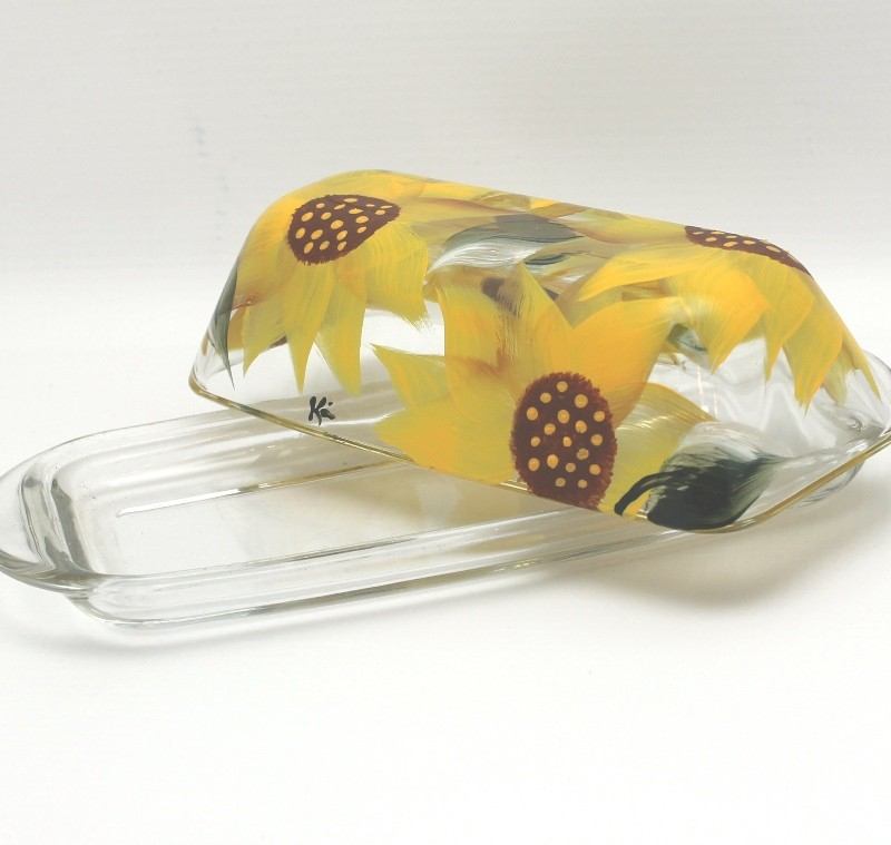 hand painted sunflower yellow butter dish