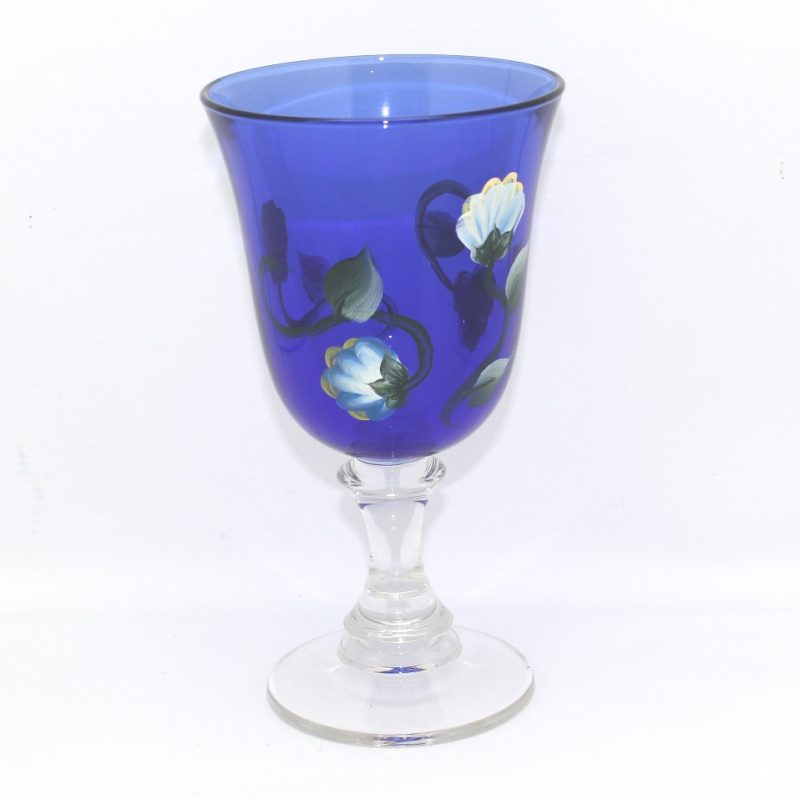 hand painted blue glass flower