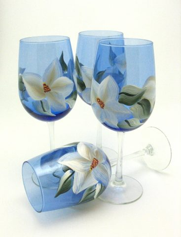 blue wine glass hand painted magnolia