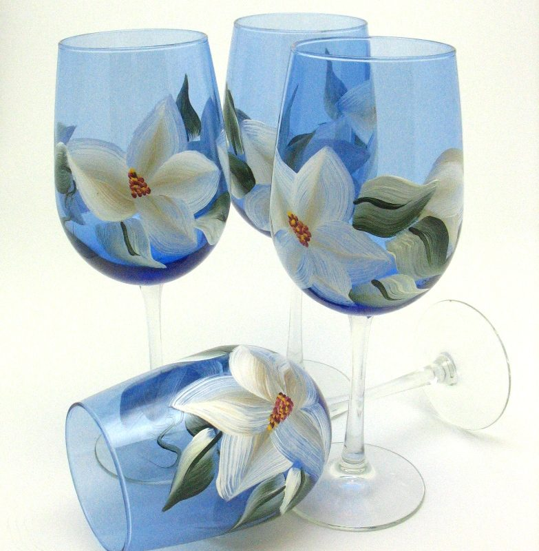 blue wine glass hand painted magnolia