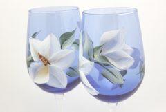 Cobalt magnolia pair close up