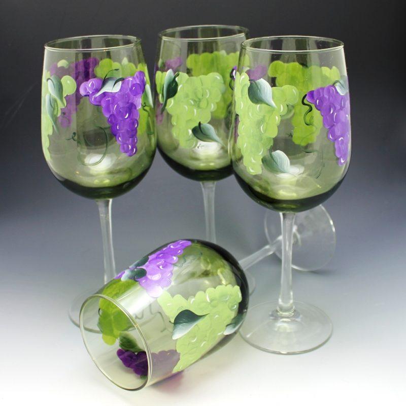 green tint wine glass grape pattern hand painted