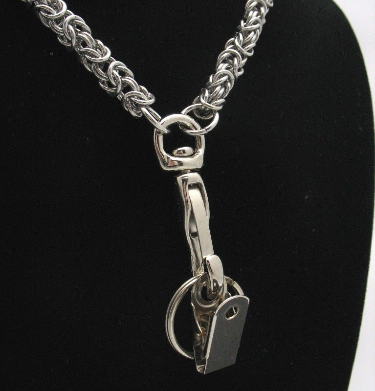 bright aluminum chainmaille lanyard