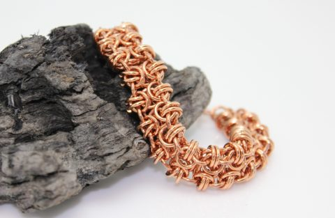 copper chainmail bracelet beez butterfly