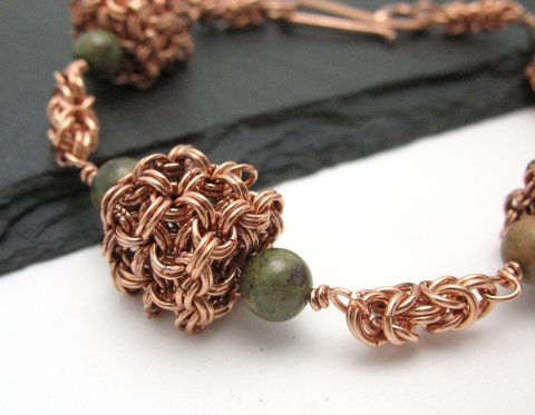 byzantine cubed copper chainmaille bracelet