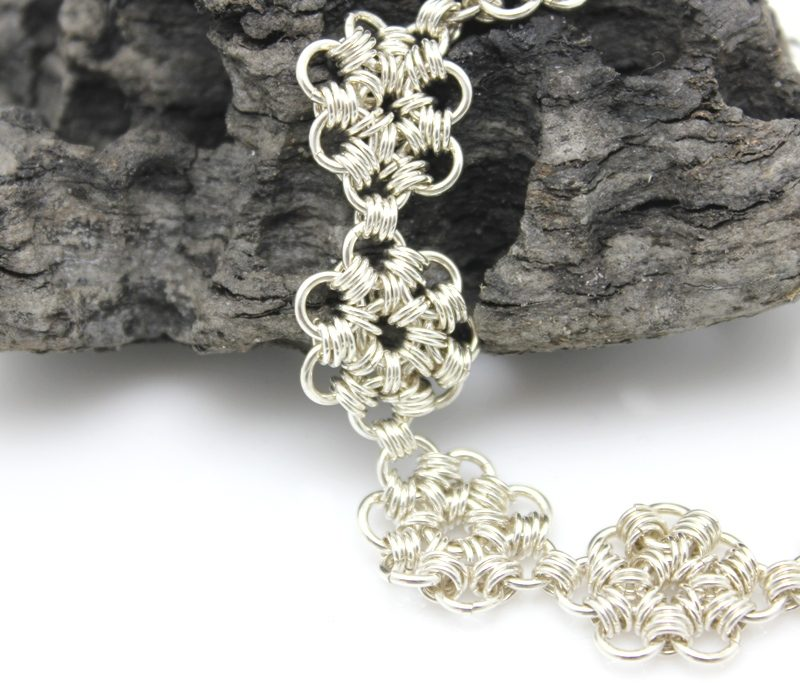sterling silver chainmail daisy bracelet