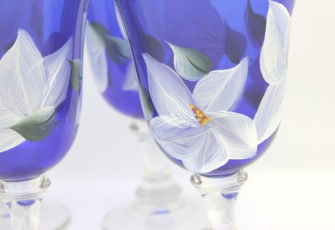 hand painted magnolia water glass cobalt blue