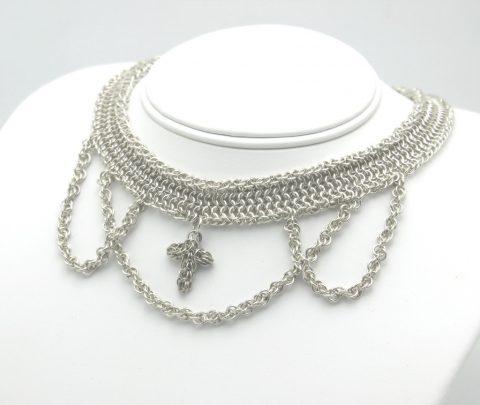 sterling silver handmade cross choker