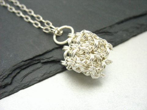 sterling silver chainmaille cube pendant