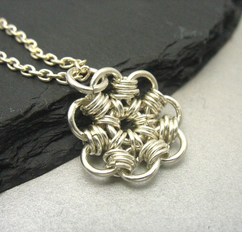 handmade sterling silver daisy chainmaille pendant