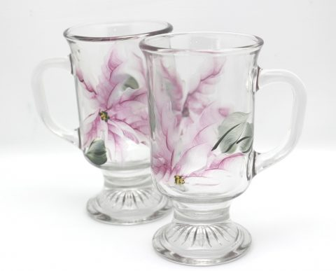 hand painted irish coffee mugs pearl poinsettia