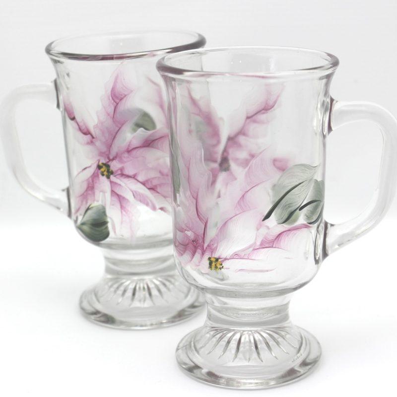hand painted irish coffee mugs pearl poinsettia