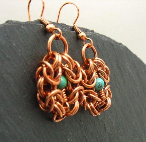 handmade copper chainmaille romanov earrings
