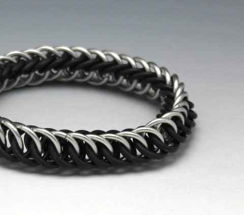 stretch aluminum black silver chainmaille bracelet