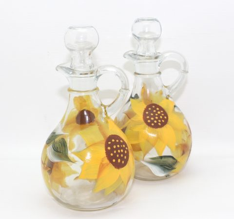 hand painted sunflower glass cruet set