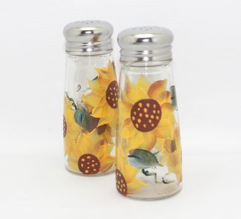 hand painted sunflower glass salt and pepper shaker